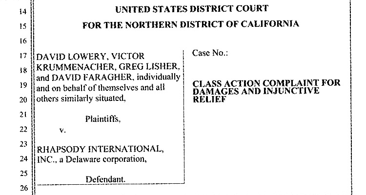 Class Action Filing Against Rhapsody