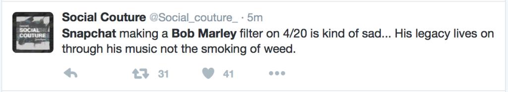 Bob Marley Disrespected With 420 Snapchat Filter