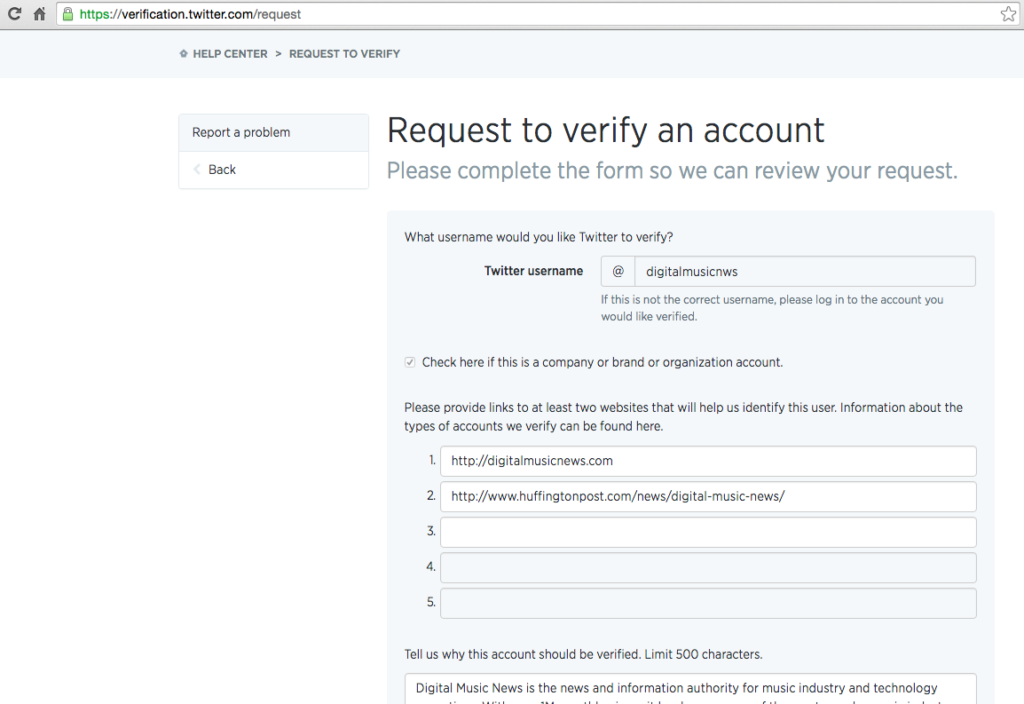 How to get my twitter account verified