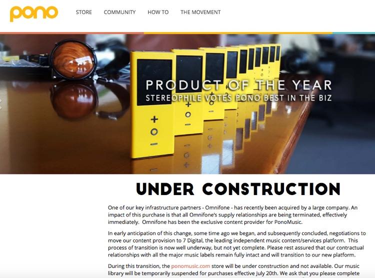 Pono Music Under Construction