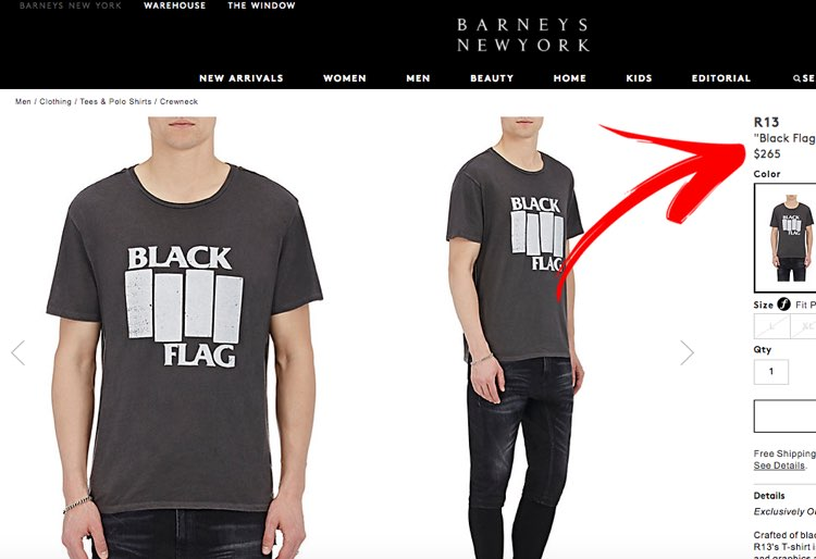 5aed8f2c3d80c Barneys Is Selling a Black Flag T-Shirt for $265