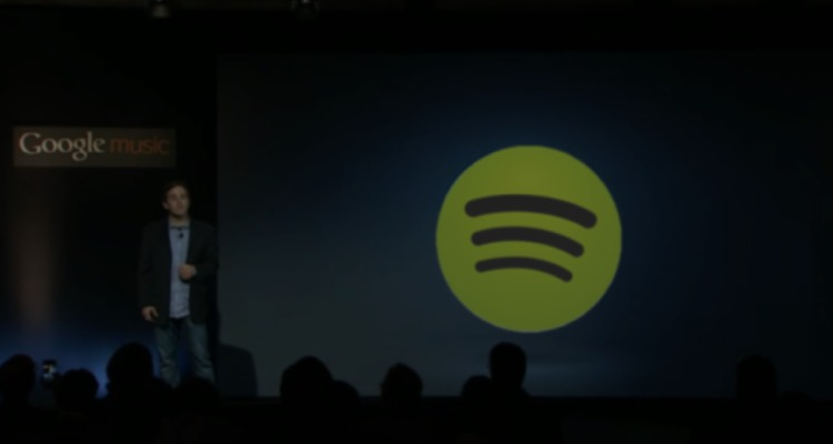 Google executive vice president for Music Nathan Rutherford previews the Spotify acquisition in Mountain View, CA