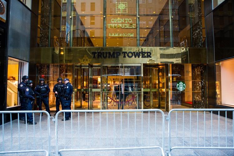 A heavily barricaded Trump Tower, residence to Melania Trump and Barron Trump