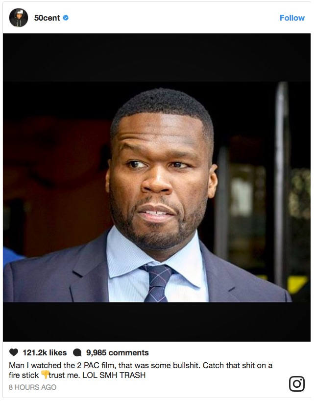 50 cent says tupac shakur movie all eyez on me is quotbullstquot