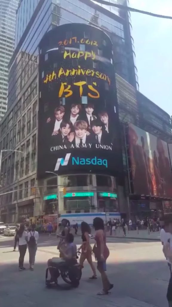 BTS Times Square billboard, paid for by ARMY fandom