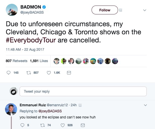 Rapper who stared at eclipse abruptly cancels concerts
