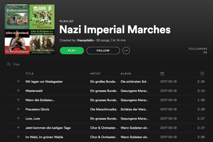 Spotify deletes white supremacist music