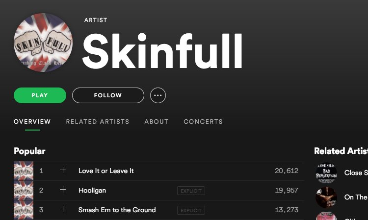 UK-based Skinfull on Spotify. The group has been identified as a hate band by the Southern Poverty Law Center
