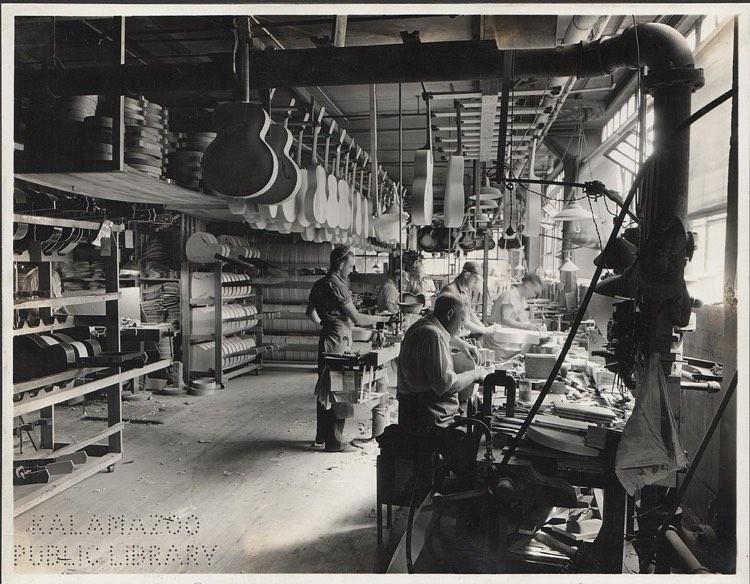 Gibson Guitar factory in Kalamazoo, MI, 1936 (Kalamazoo Public Library)