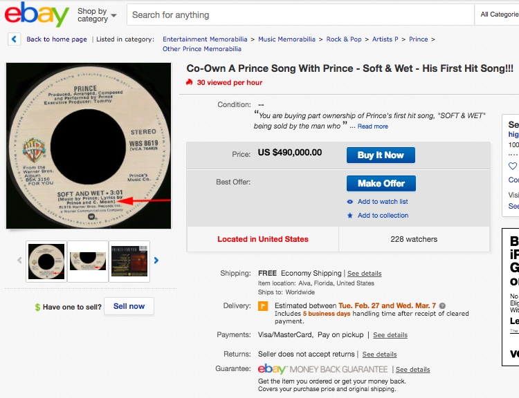 eBay listing for a piece of Prince's first single, 'Soft and Wet'
