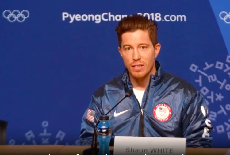 Shaun White answers a reporter's question regarding 2016 sexual assault allegations, Feb. 14th.