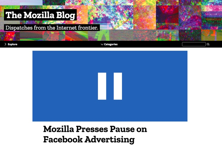 Mozilla blog post officially announcing a 'pause' on Facebook advertising.