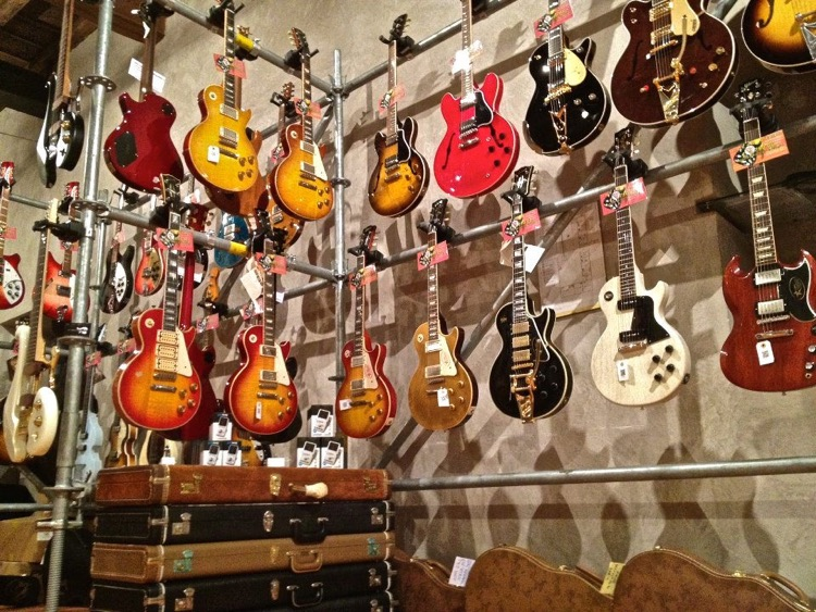 Gibson Guitar collection on display.