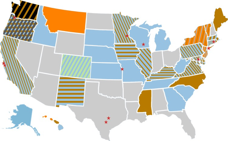 The net neutrality resistance. Black = state law passed protecting net neutrality; Orange = Executive Order signed by state governor to protect net neutrality; Dark Gray = net neutrality bill successfully passed both state legislative chambers; Blue = net neutrality bill introduced into legislature; Brown = state attorney general filing suit against the FCC; Green = 100+ municipalities have approved taxpayer-funded ISPs; Red Star = mayor is a member of Mayors for Net Neutrality Coalition; Light Gray = no state action.