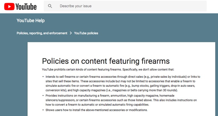 YouTube's recently-updated policy on weapons and firearms