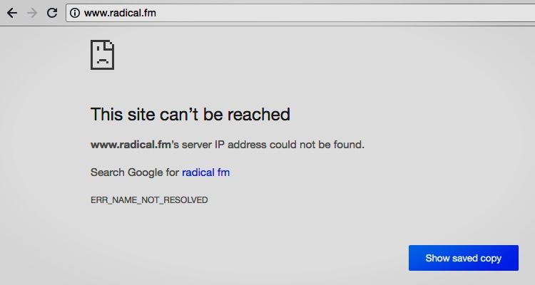 The situation at tip jar-focused radical.fm on Monday morning.