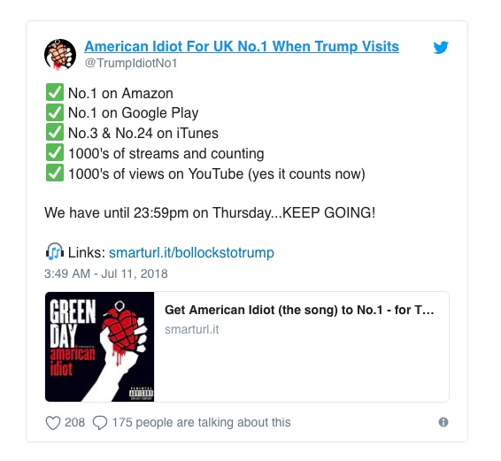 Protesters are getting 'American Idiot' into the charts ahead of Trump's visit