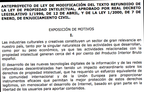 Photocopy of Proposed Spanish Copyright Law