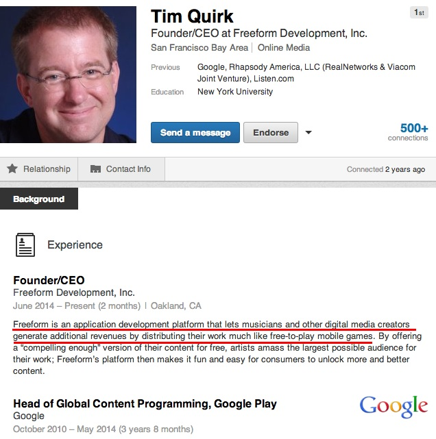 Tim Quirk Tries a New Post-Google GIg
