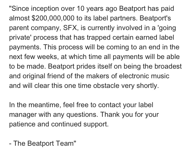 Beatport sends letter to artists saying that their payments will be frozen