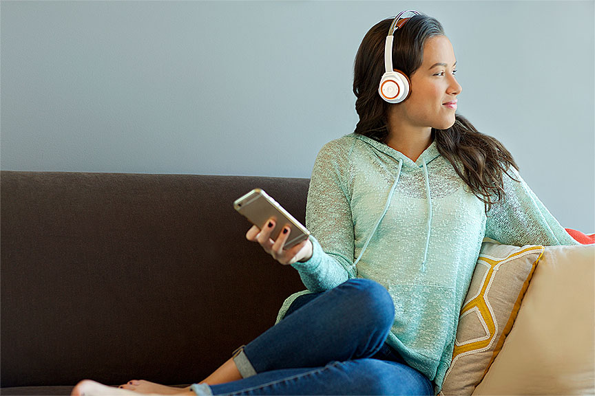 This person sure looks they're enjoying the headphones. But that's kinda their job...