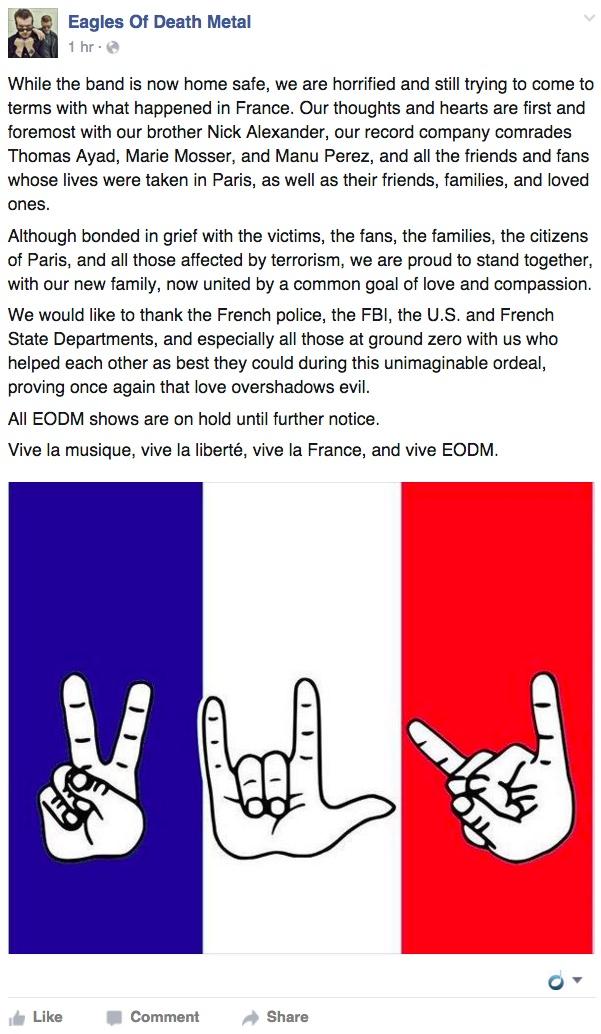 Eagles of Death Metal Statement