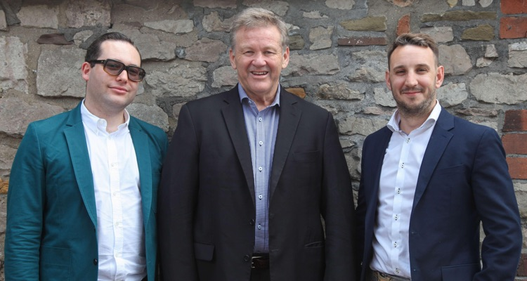 (l to r) Dan Ickowitz-Seidler, MJR head of UK venues and propaganda; Geoff Jones, CEO TEG; Richard Buck, MJR Group CEO and head of UK