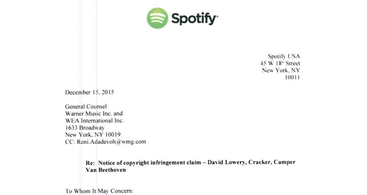 Spotify Letter on Lowery