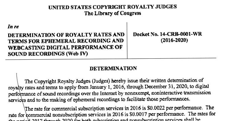 copyrightroyaltydetermination