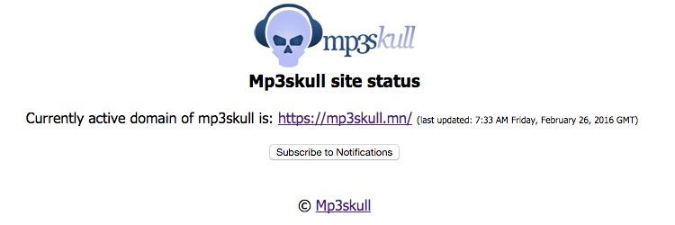 MP3skull redirect notice