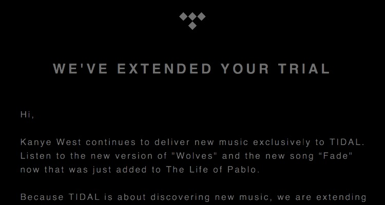 Tidal Free Trial Extended