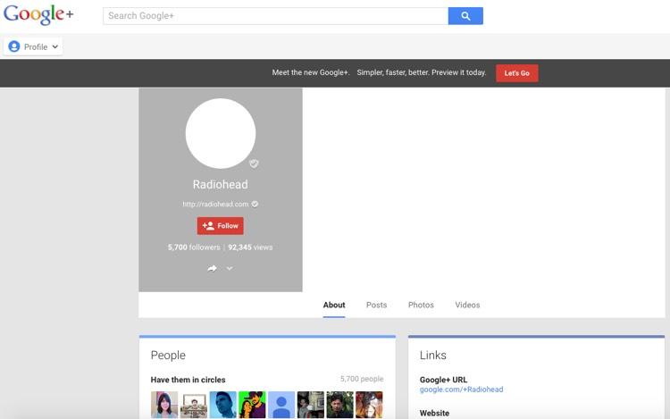 Radiohead Google+