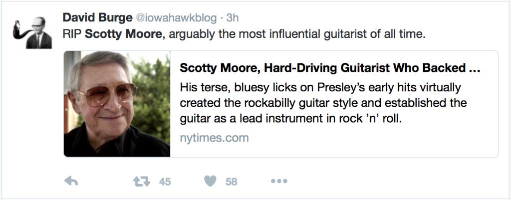 Elvis Presley Guitarist, Scotty Moore Dies Aged 84