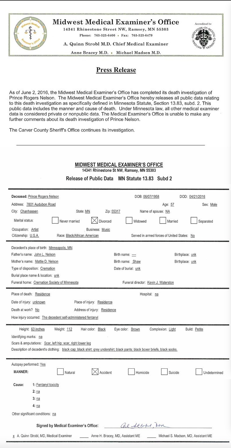 Prince's Autopsy Report