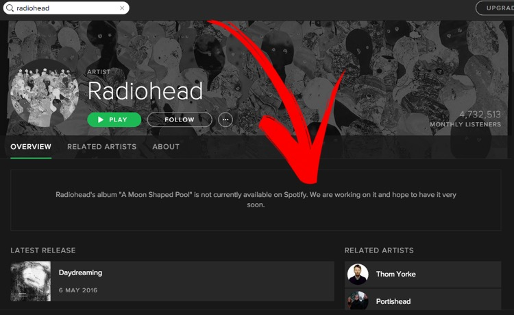 Radiohead Give In to Spotify Battle