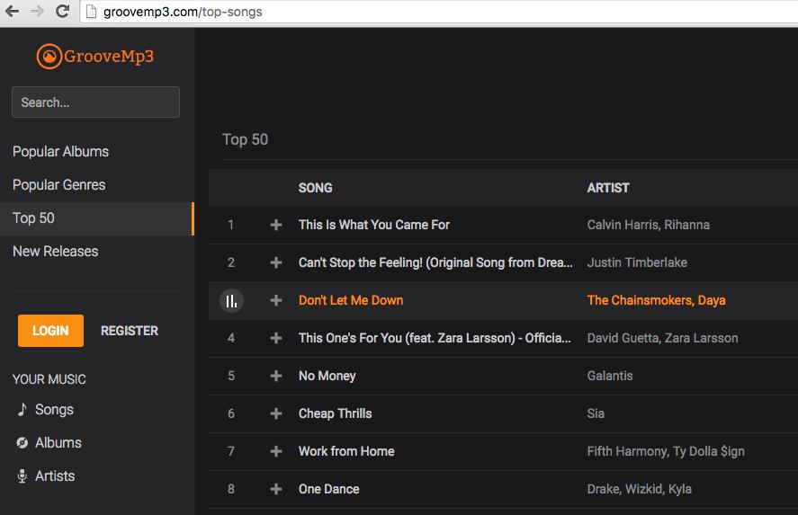 Grooveshark clone GrooveMP3