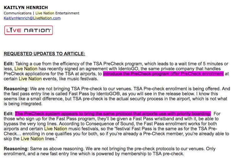 TSA Pre 'Corrections'