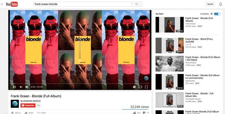 Frank Ocean, Blonde, on YouTube
