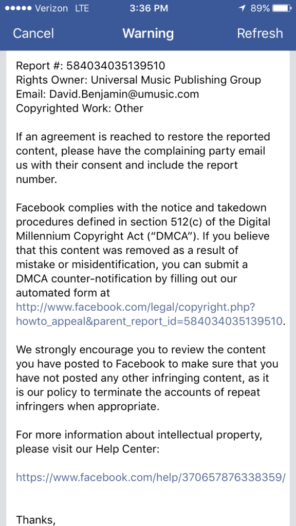Facebook Is Aggressively Ripping Down Cover Videos