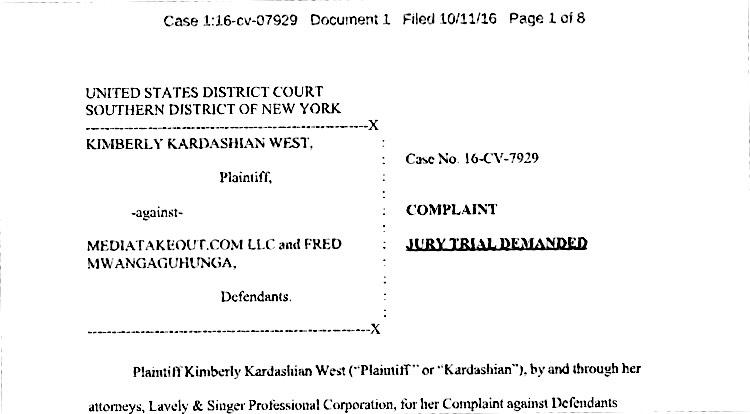 Kim Kardashian legal filing