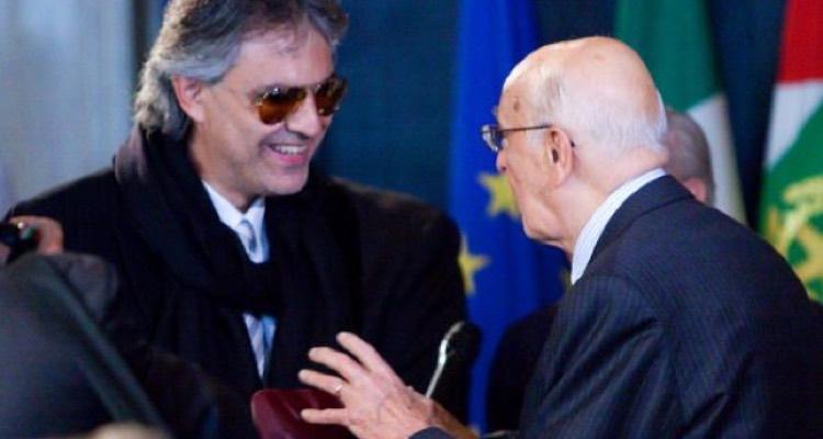 Andrea Bocelli meeting with Italian President Giorgio Napolitano, 2009