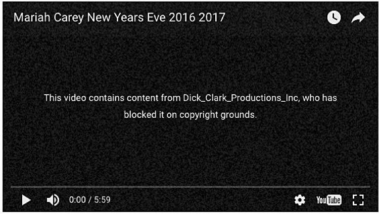 'Mariah Carey New Years Eve 2016 2017 Video': Deleted from YouTube
