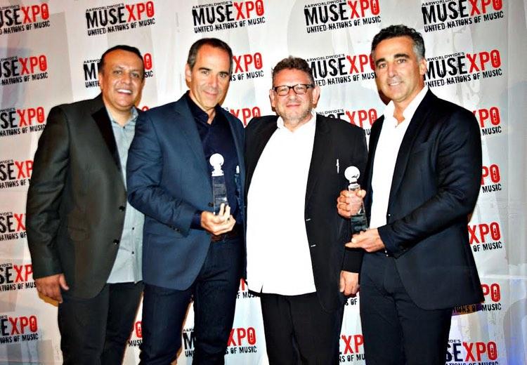Universal Music Group (UMG) chairman Lucian Grainge with (l to r) Sat Bisla (A&R Worldwide); Monte Lipman (Republic Records); Avery Lipman (Republic Records)
