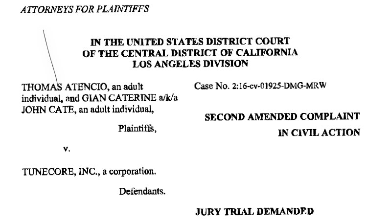 Pictured: top page of filing against Tunecore