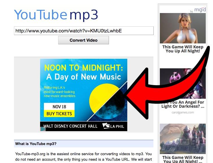 youtube-mp3.org screenshot: LA Phil ad