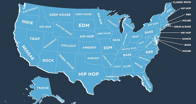 The Most Popular Genre in Every US State [2017 Mixcloud Edition]