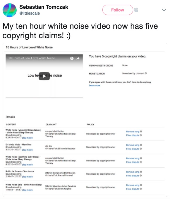 YouTube Video Containing Static Receives 5 Different Copyright Violations