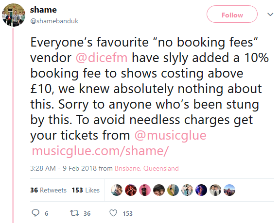 Dice Admits to Sneaking Booking Fees Into the Price  Tickets