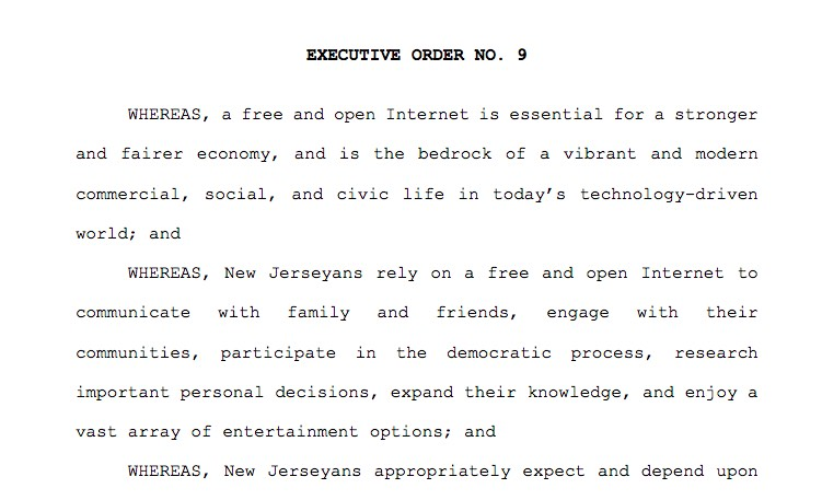 New Jersey Executive Order No. 9, official signed Feb. 6th (Tuesday)