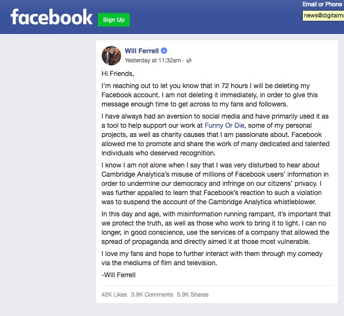 Will Ferrell Announces He's Deleting Facebook — In a Post on Facebook